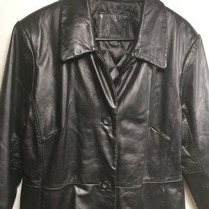 Kathy Ireland Black Leather Coat